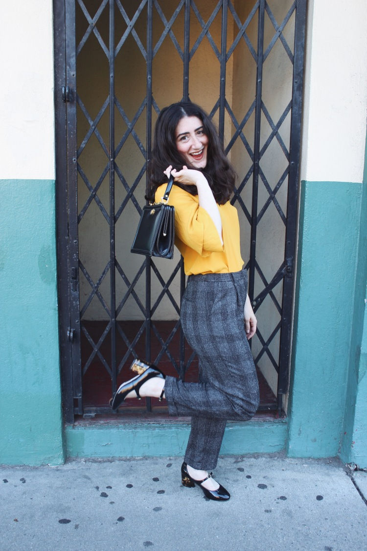 Aline Chaprazian modeling GenZ Yellow featured on her blog Aline Aesthetic